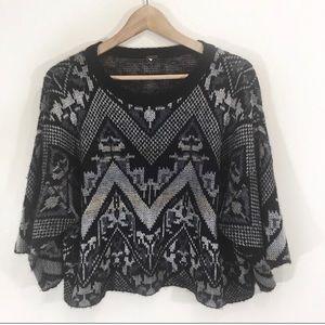 Free People Wool Boho Knit Crop Sweater Medium
